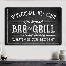 Backyard Bar and Grill Sign