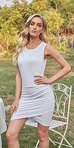 Women Sleeveless Elegant Ruched Bodycon Wrap Casual Irregular Hem Short Dress…
