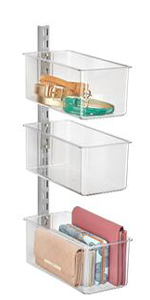 3 Clear Plastic Closet Storage Bins Mounted on Metal Rail Holding Purse Clutches and Belts