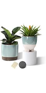 5.25+4.5 inch ceramic planters set of 2