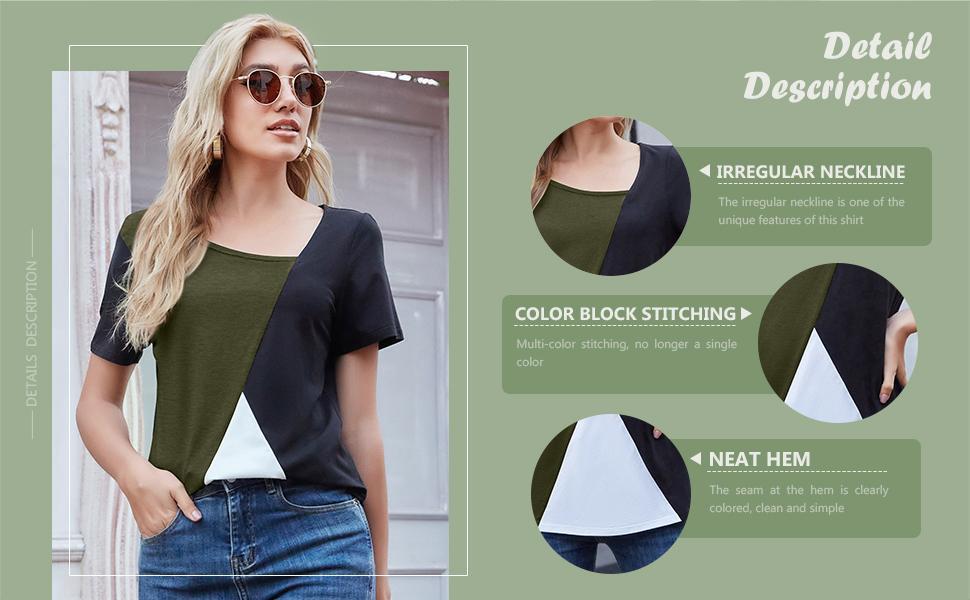 womens casual tops Color block stitching Irregular neckline Neat hem