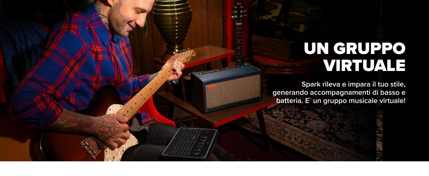 Spark rileva e impara il tuo stile, generando accompagnamenti di basso e batteria.