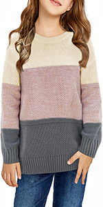 Girlsamp;amp;amp;#39; Long Sleeve Knit Sweater Color Block Crewneck Cute Warm Pullover Holiday