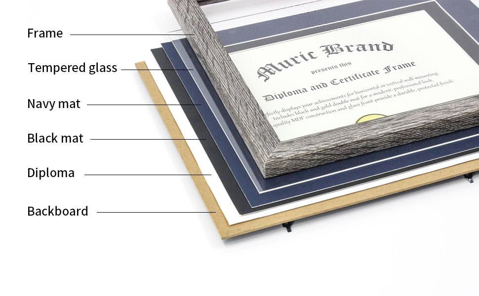 Diploma Frame Tempered Glass 8.5x11 with Mats 11x14 without Mat