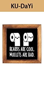 Beards are Cool, Mullets are Bad Framed Block Sign Rustic(Black)