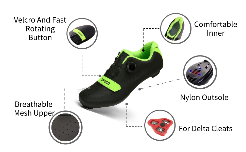 Velcro rotating button, comfortable inner, breathable upper, insole for delta cleats