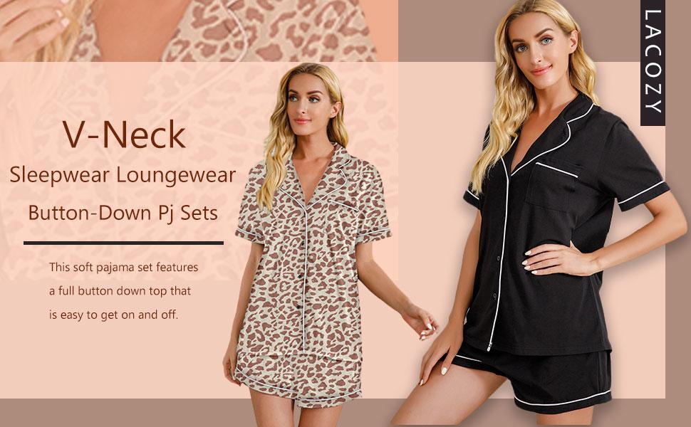 LACOZY Womens Short Sleeve Cotton Pajamas Set Two-Piece Pj Sets V-Neck