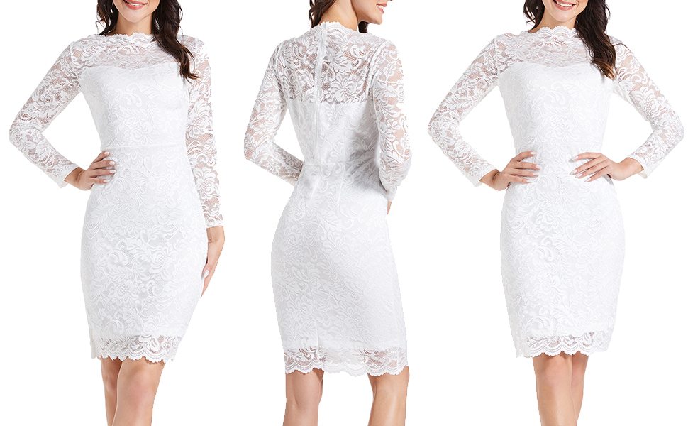 Women's Floral Lace Business Bateau Neck Long Sleeves Cocktail Wedding Guest Bodycon Pencil Dress