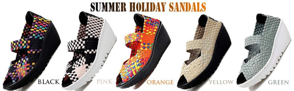 EnllerviiD Women's Wedge Mary Jane Sandals