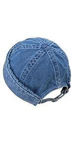Washed Denim Cuffed Beanie Hat Adjustable for Men Women