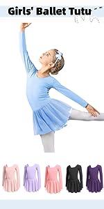 Boyoo Girl's Ballet Dance Dress Long Sleeve Classic Ballet Skirted Leotard