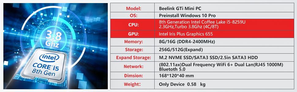 mini pc beelink windows 10 pro wifi6 bt5.0 intel 10th core i5 8259u desktop mini office work gaming