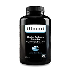 Complejo de Colágeno Marino, con Ácido Hialurónico, CoQ10, Vitaminas C & E y Zinc, 180 Cápsulas | Péptidos para Articulaciones, Piel y Huesos | de ...