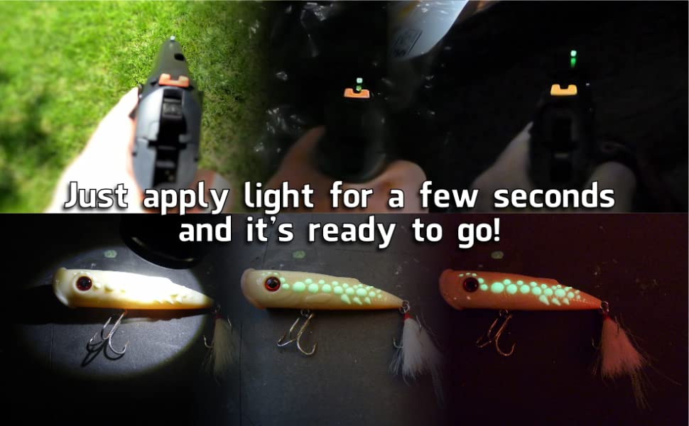 gun sights and fishing lure transition from light to darkness
