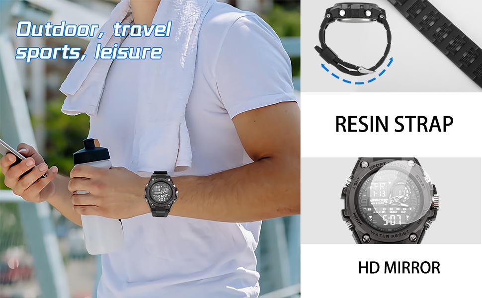 Koodea Men's Watches Waterproof Military Wristwatch Stopwatch Quartz Sport Watch