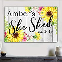 Personalized She Shed Floral Sunflower Sign