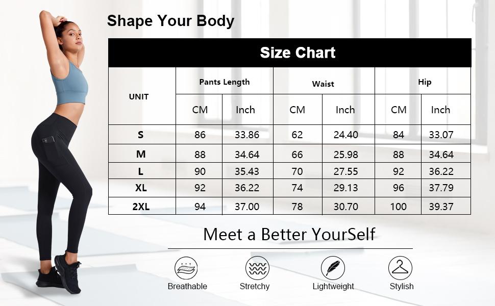 Shape Your Body Yoga Pants Size Chart