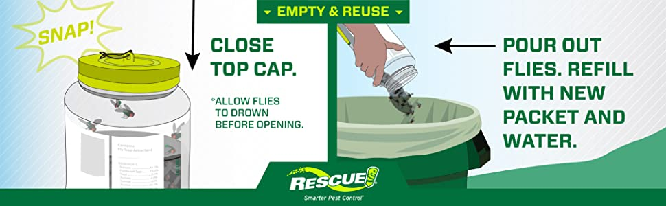 Close top cap, pour out flies. Refill with new packet and water.