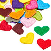 colorful iron on patches heart shaped