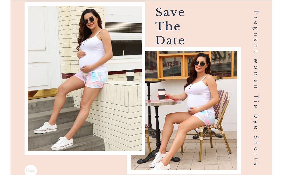 Maternity tie dye shorts