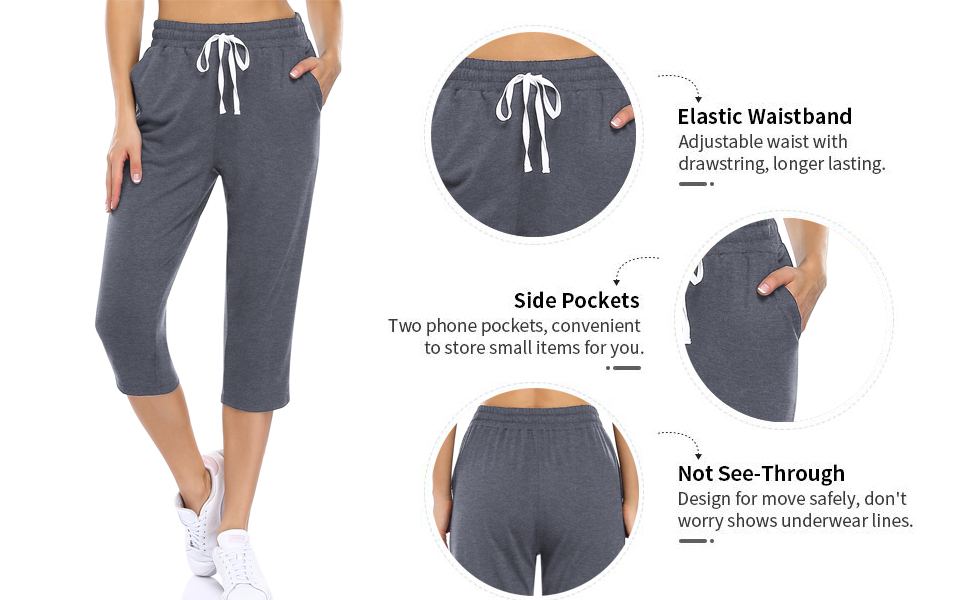 Women's Lightweight Yoga Capris Pants Straight Wide Leg Crop Capri Lounge Pocketed Crop Pants