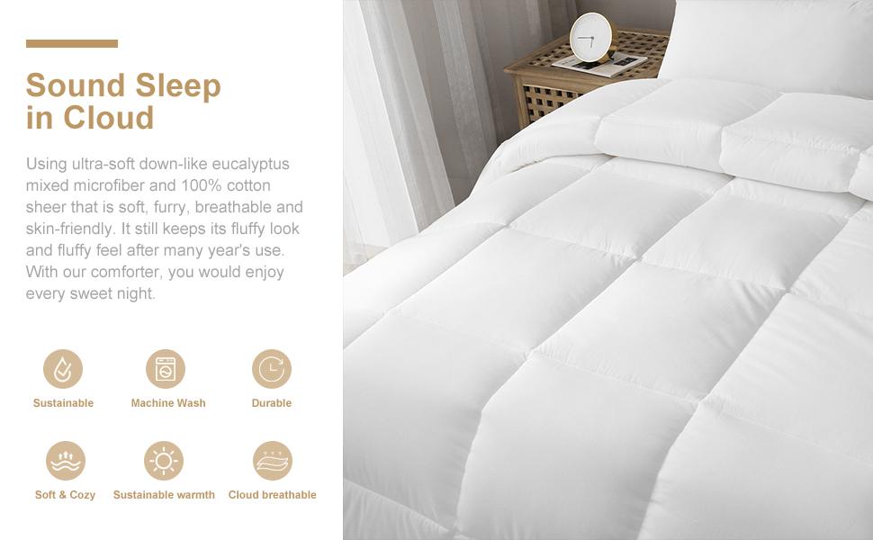 twin 100% cotton microfiber comforter duvet lightweight down alternative all season