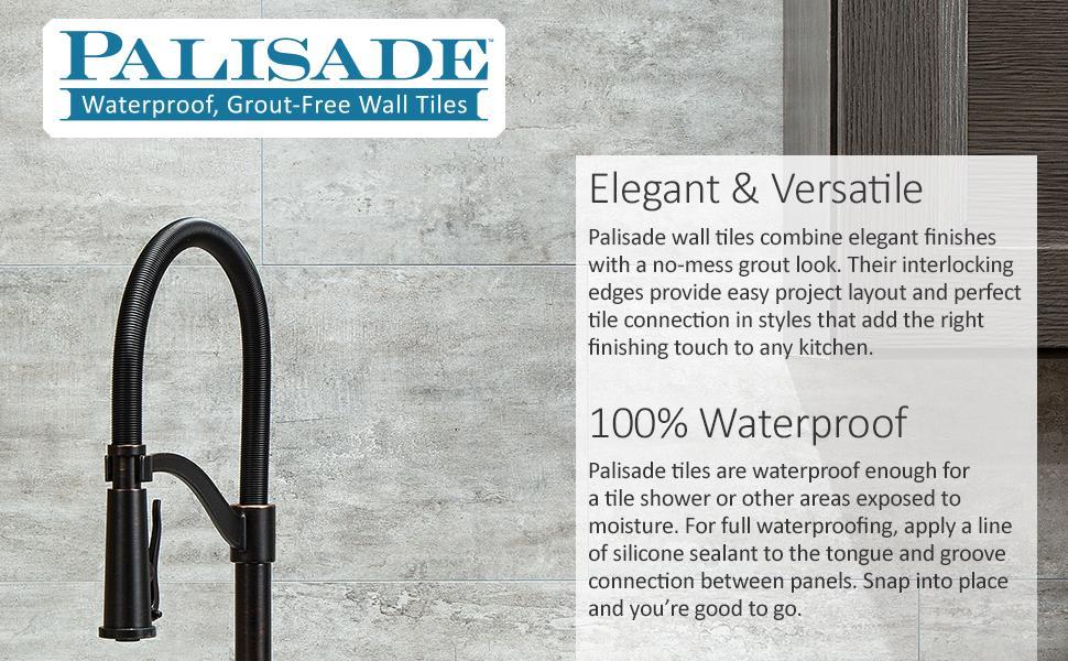 Palisade Waterproof Grout-free Tiles Elegant Versatile Waterproof