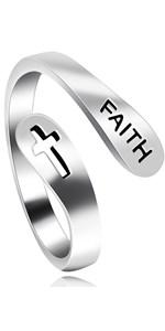 925 Sterling Silver Faith Cross Ring