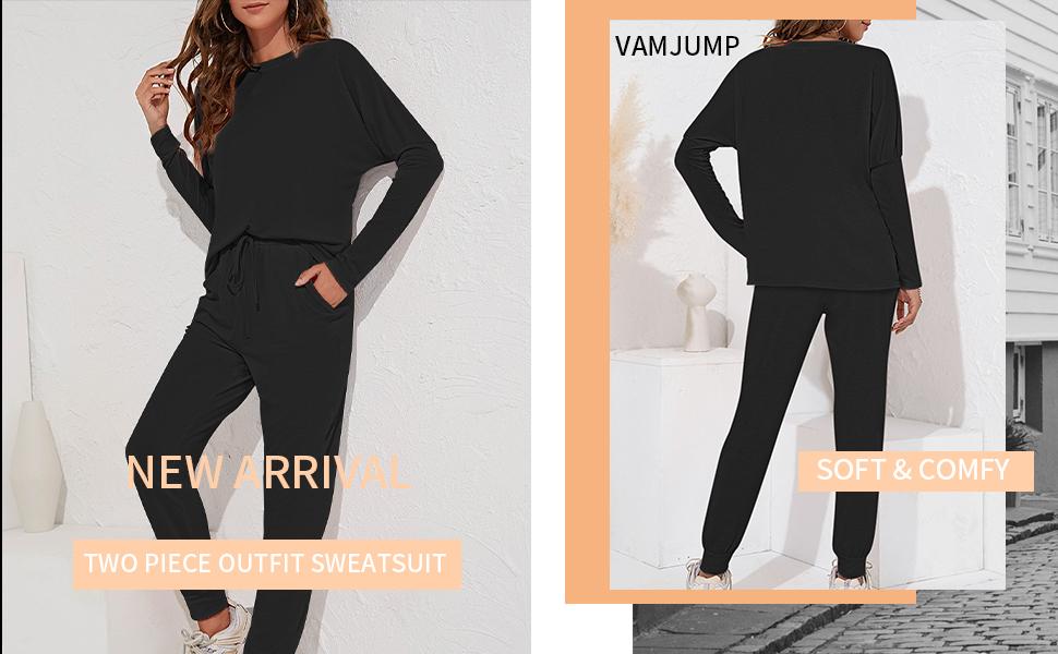 vamjump womens  loungewear sweatsuit tracksuit pajamas