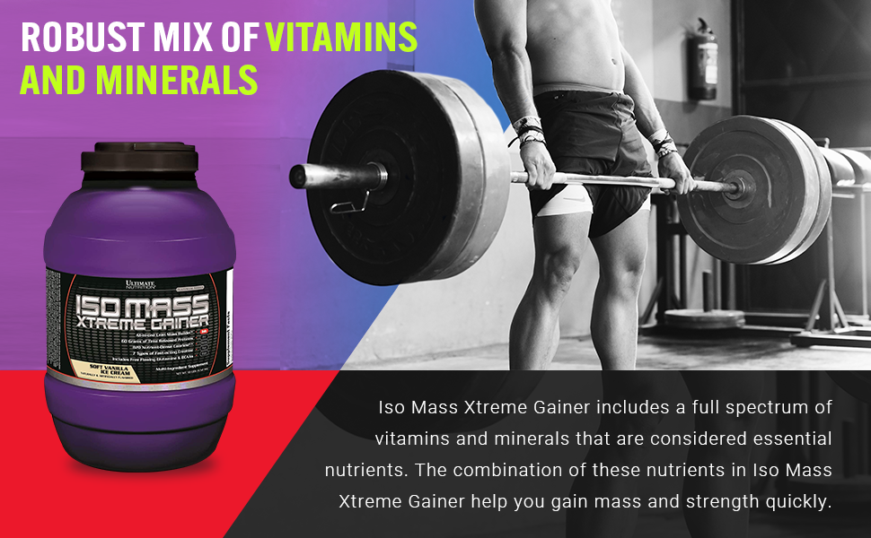 Ultimate Nutrition ISO Mass Xtreme Weight Gainer Protein Isolate Powder with Creatine