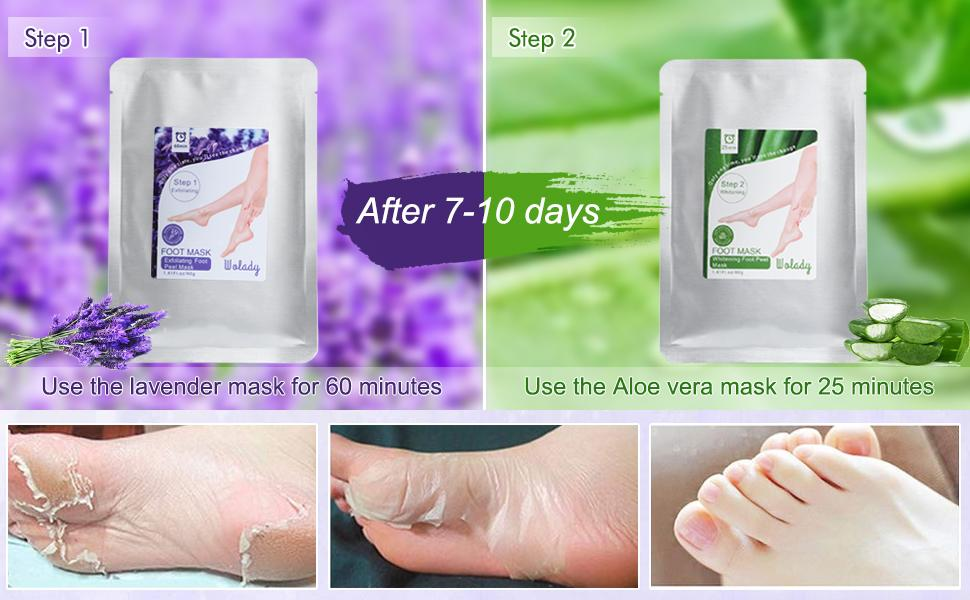 Include 2 pack Exfoliating foot mask and 2 pack Moisturizing foot mask