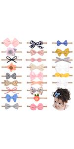 24pcs nylon hair bows headbands