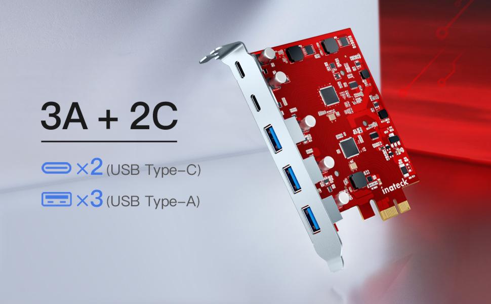 3 USB A und 2 USB C