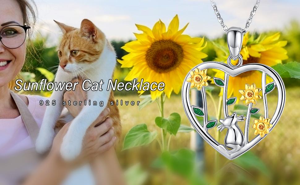 sunflower cat necklace