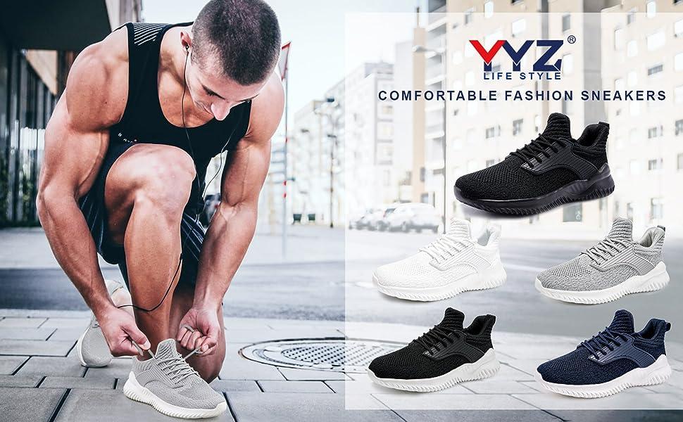 Mens Sneakers Slip on Lightweight Walking Shoes