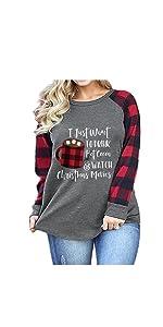 Plus Size Christmas Raglan Sleeve Shirt