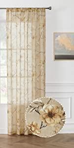 Tollpiz sheer curtains flower leaf printed floral embroidered curtain, beige, set of 2 panels