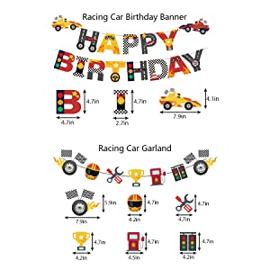 Race Car Birthday Banner and Cake Topper Racing  Hot Wheel Themed Birthday Party Supplies