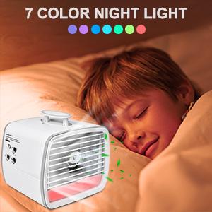 Mini USB Cooling Fan with 7 Colors LED Lights