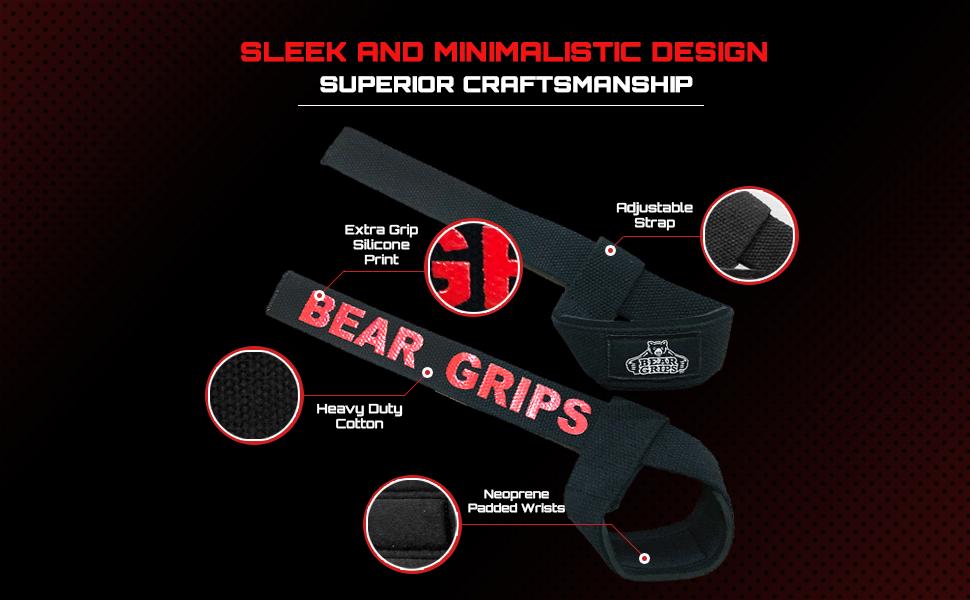 coutures doubles robustes Bear Grip Bandes de soutien pour poignets 100//% coton qualit/é sup/érieure avec rembourrage en n/éopr/ène grip en gel et plus de longueur
