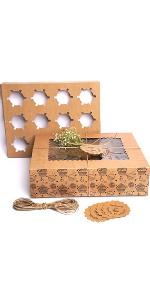 Mudrit 12 pcs Kraft Cupcake Boxes with Insert (pack of 20), Brown Cupcake Carrier