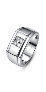 925 Sterling Silver Rings for Men Round Cut Cubic Zirconia Engagement Promise Ring