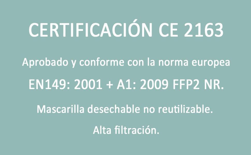 CERTIFICACION MASCARILLAS FFP2