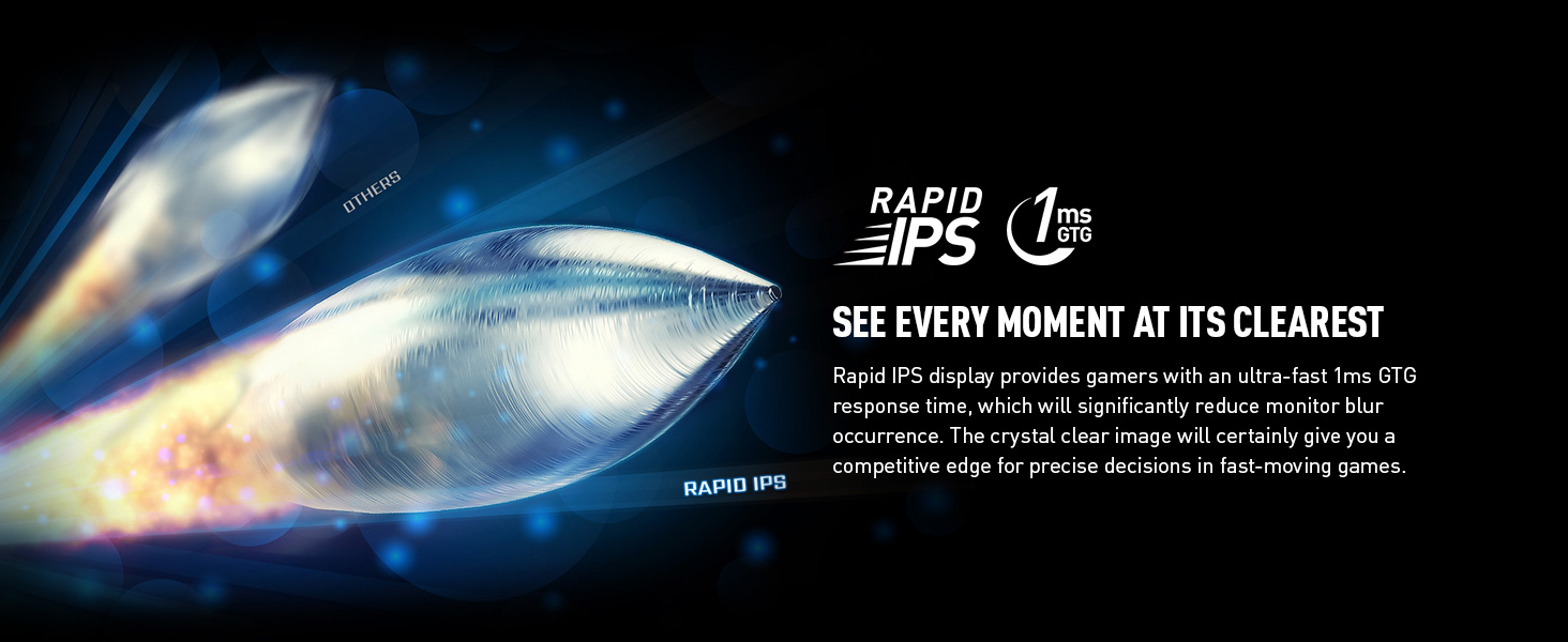Rapid IPS Display for 1ms response and low response rate no lag low latency