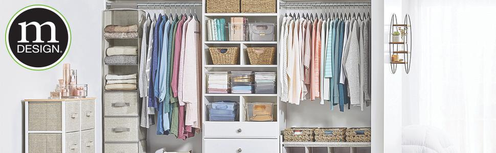 closet setting with dresser, clothes, organizers, fabric storage, bins, baskets with mDesign logo