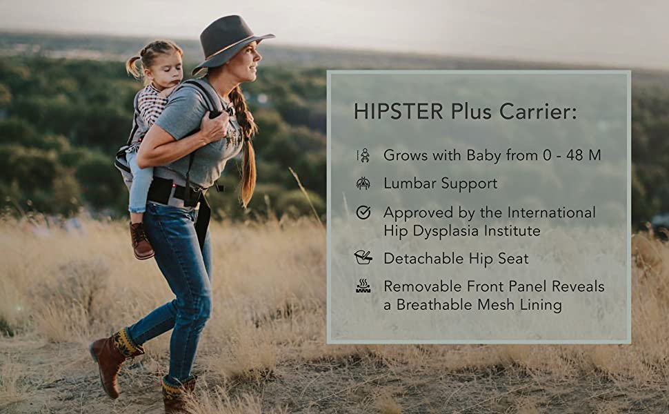 woman hiking with baby carrier