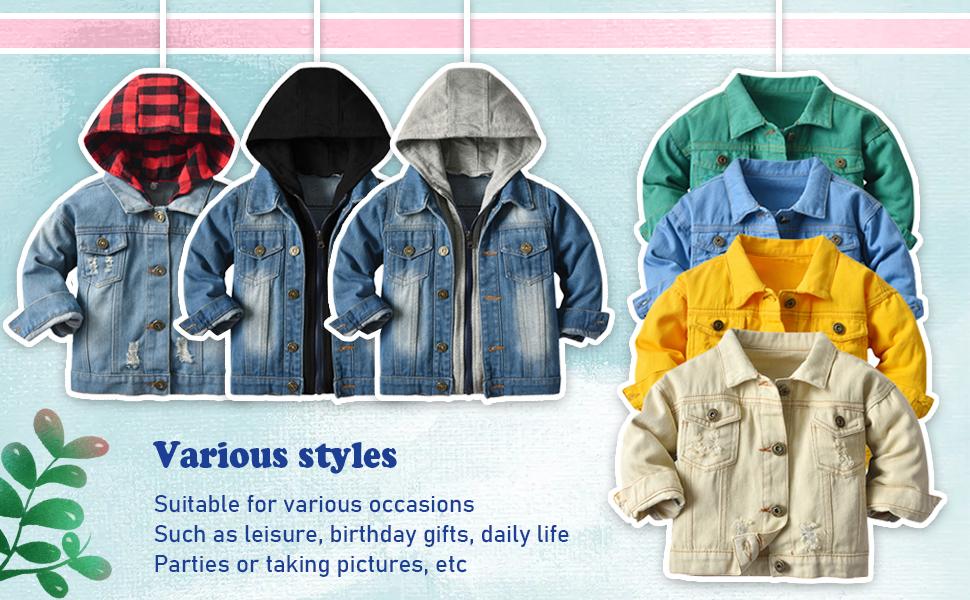 various styles kid denim jacket