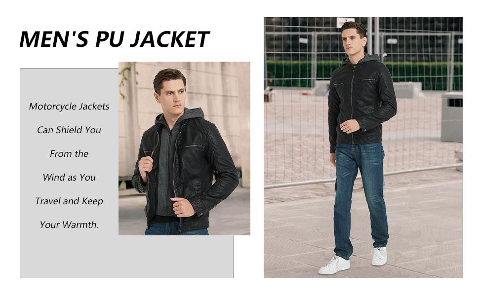 Men's Faux Leather Jacket with Detachable Hood,Biker Jacket
