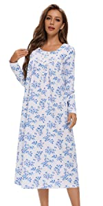 long sleeve cotton nightgowns
