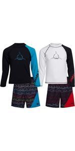 Rash Guard Set - 4-Piece UPF 50+ Long Sleeve Swim Shirt and Trunks Swimsuit Set